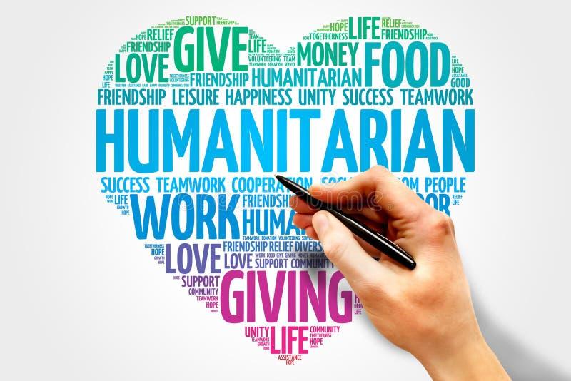 Humanitarian. Word cloud, heart concept stock photos