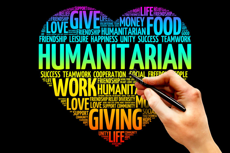Humanitarian. Word cloud, heart concept royalty free stock photos