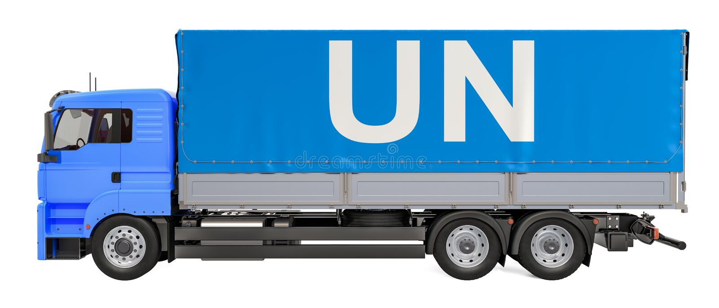 Humanitarny ładunek od UN pojęcia Ciężarówka z UN flagą, 3D rendering royalty ilustracja