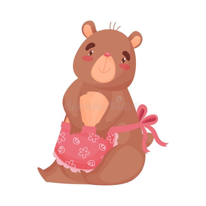 Humanized домохозяйка медведя мамы сидит r иллюстрация вектора