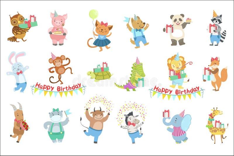 Humanized животные характеры присутствуя на комплекте торжества вечеринки по случаю дня рождения бесплатная иллюстрация