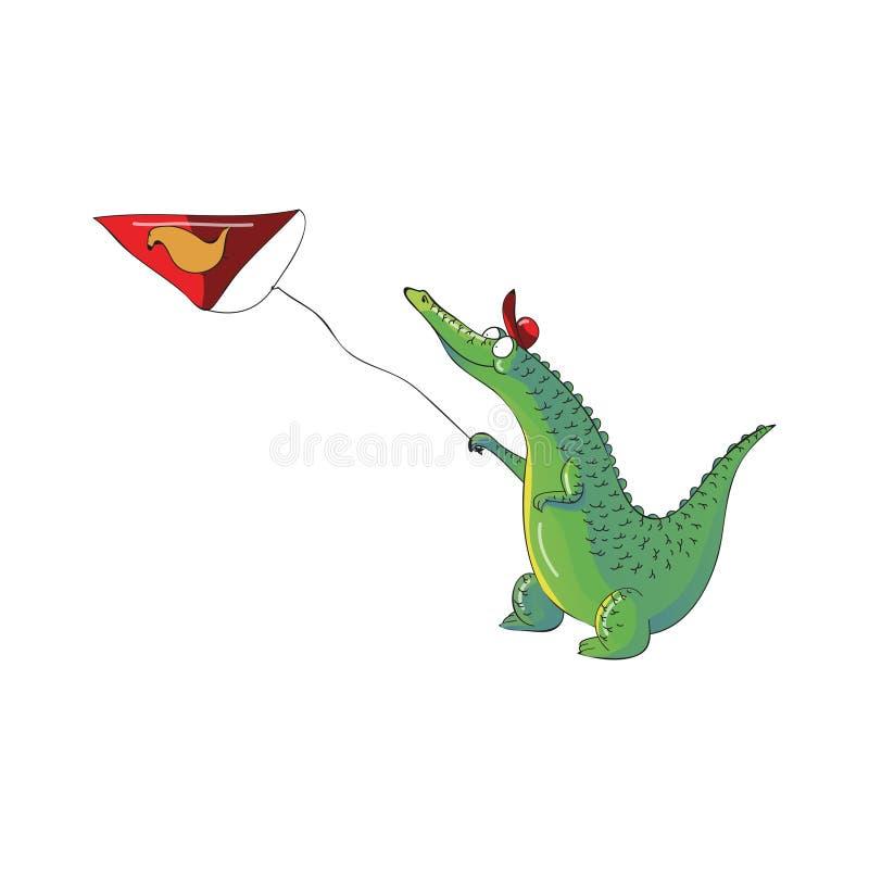 Humanized змей ребенк крокодила запуская в воздухе Зеленый аллигатор в красной крышке животное одичалое Дизайн вектора шаржа бесплатная иллюстрация