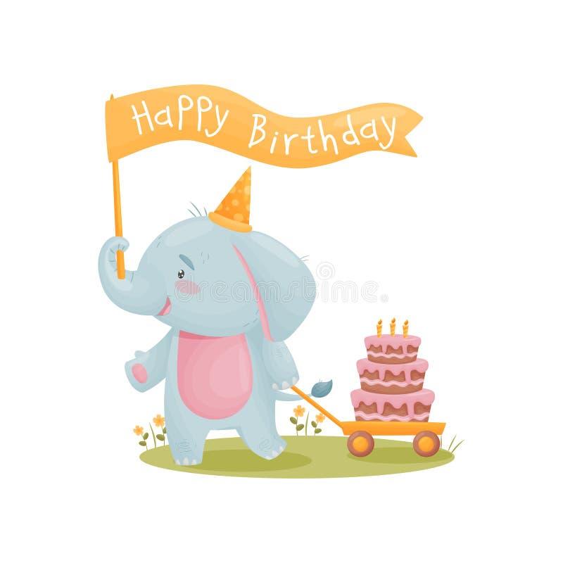 Humanized милый слон младенца носит флаг который говорит с днем рождения r иллюстрация вектора