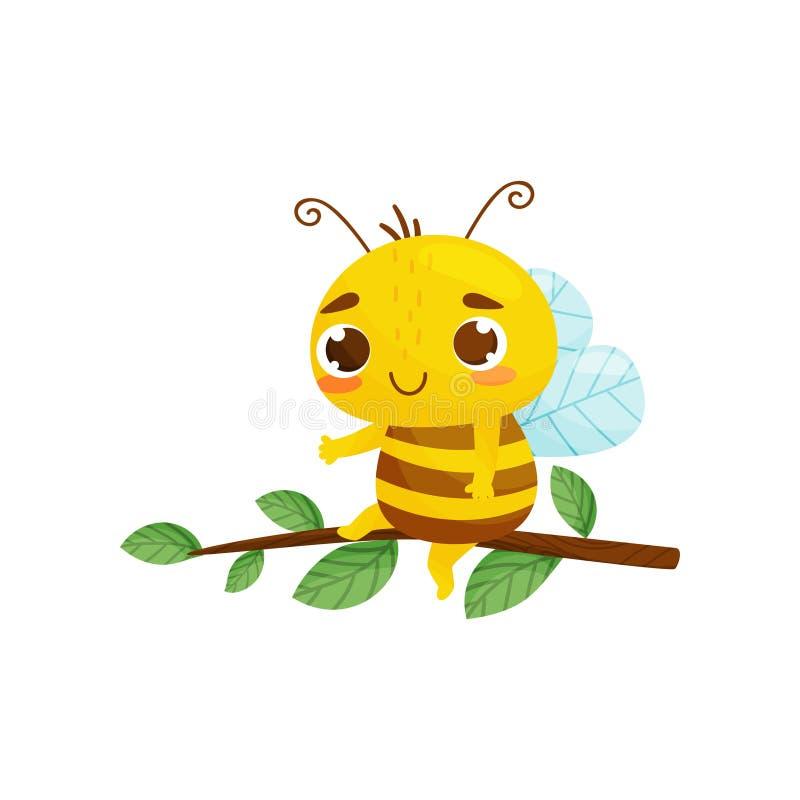 Humanized пчела сидит на ветви дерева r r бесплатная иллюстрация