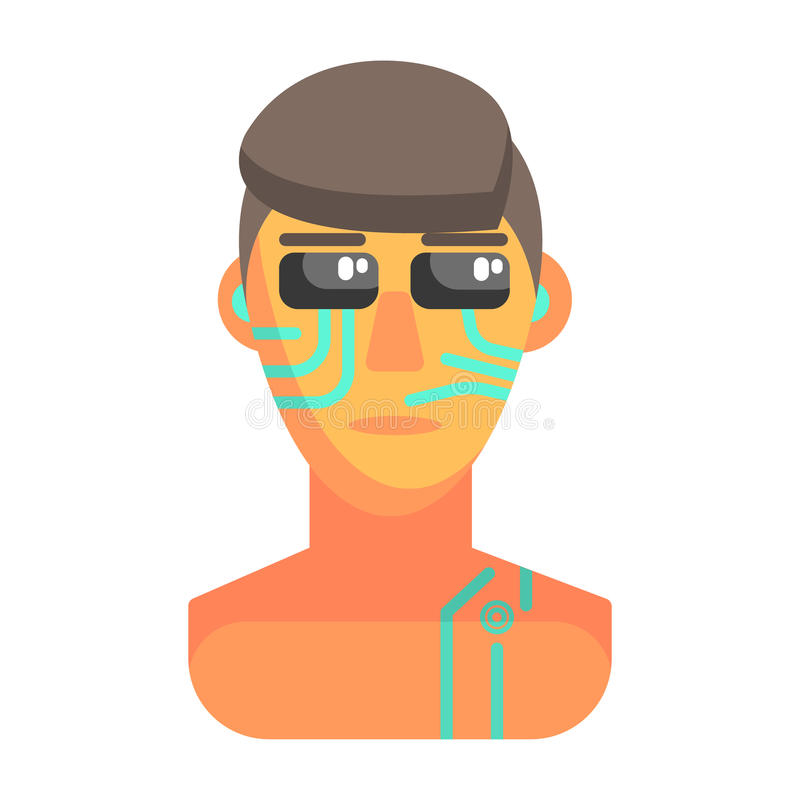 Humanized Android Portrait With Electronic Elements, Part Of Futuristic Robotic And IT Science Series Of Cartoon Icons royalty free illustration