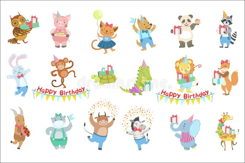 Humanized Animal Characters Attending Birthday Party Celebration Set. Childish Cartoon Style Animals Dressed In Human Clothes Vector Stickers royalty free illustration