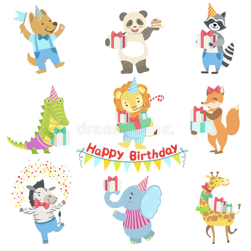 Humanized Animal Characters Attending Birthday Party Celebration Set. Childish Cartoon Style Animals Dressed In Human Clothes Vector Stickers stock illustration