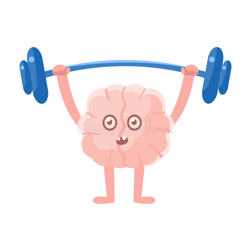 Humanized Brain Doing Heavy Weight Lifting Exercise In Gym , Intellect Human Organ Cartoon Character Emoji Icon. Human Mind And Lifestyle Emoticon Illustration royalty free illustration