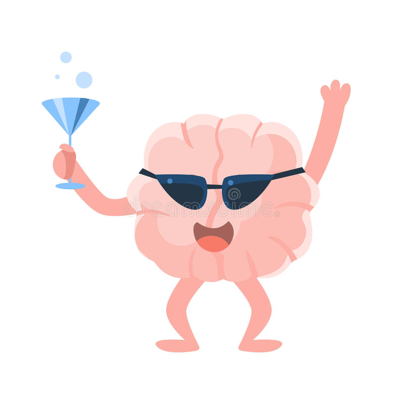 Humanized Brain At The Party Having A Drink And Partying Hard, Intellect Human Organ Cartoon Character Emoji Icon. Human Mind And Lifestyle Emoticon vector illustration