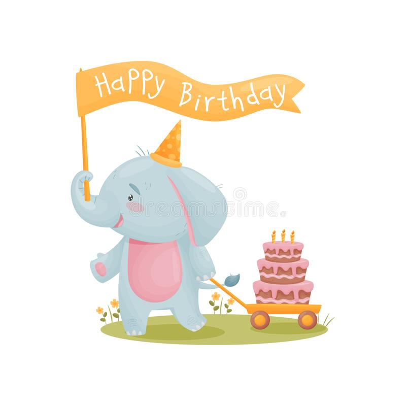 Humanized cute baby elephant carries a flag that says Happy Birthday. Vector illustration on white background. vector illustration