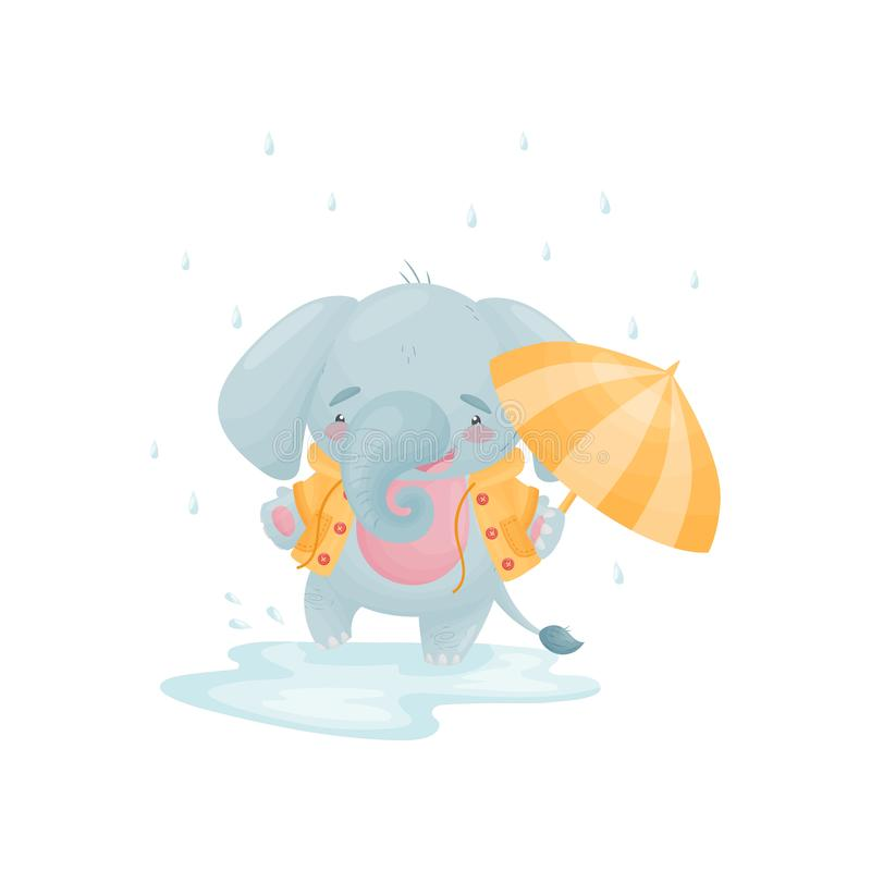 Humanized cute baby elephant in a yellow jacket is jumping in a puddle. Vector illustration on white background. vector illustration