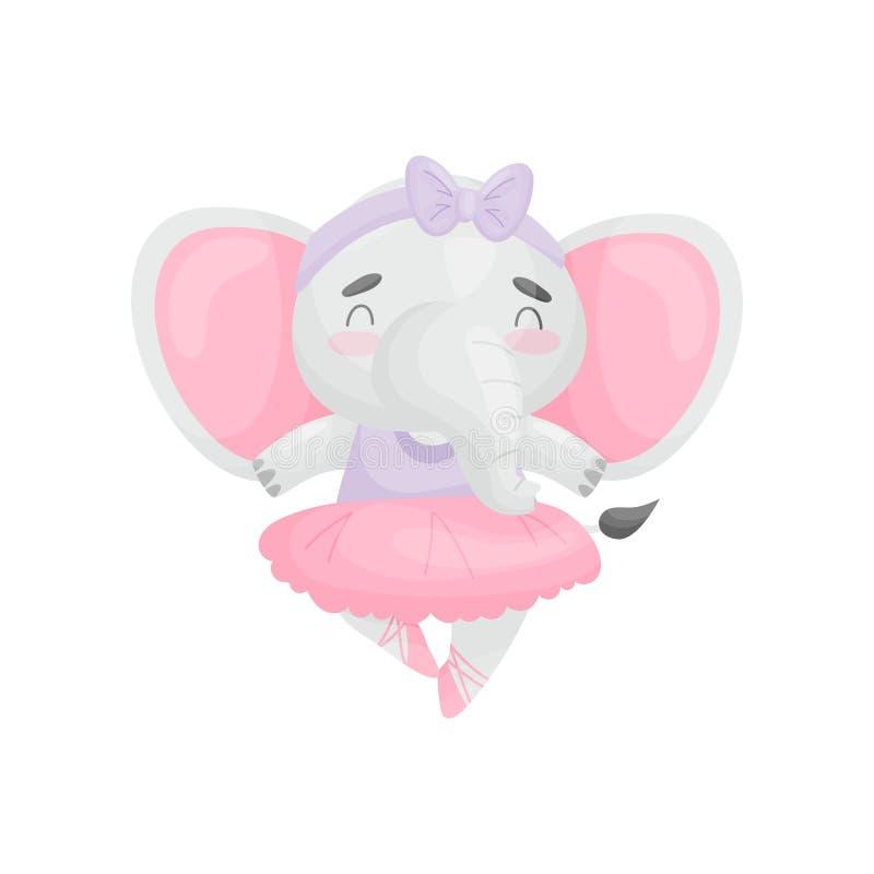 Humanized elephant in a dress ballerina. Vector illustration on white background. royalty free illustration