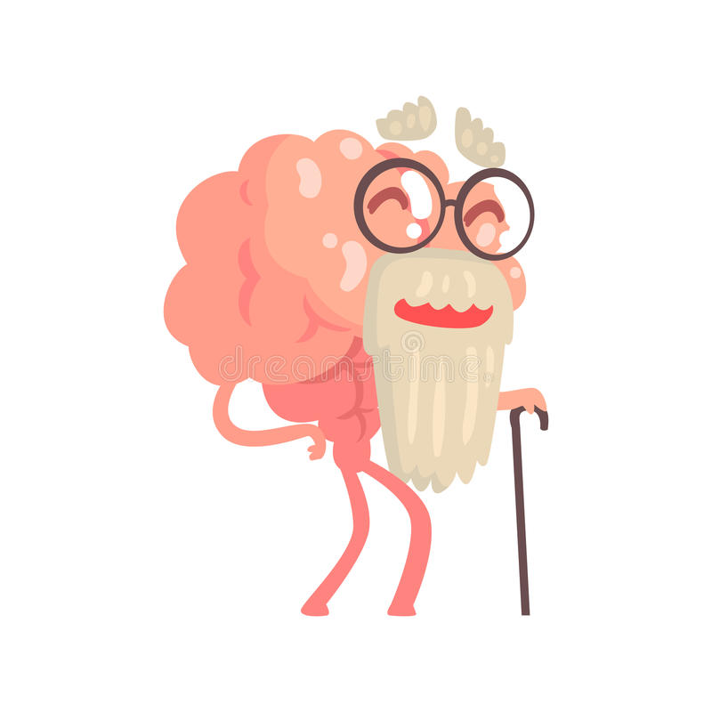 Humanized gray bearded old cartoon brain character walking with a cane, intellect human organ vector Illustration. Isolated on a white background stock illustration
