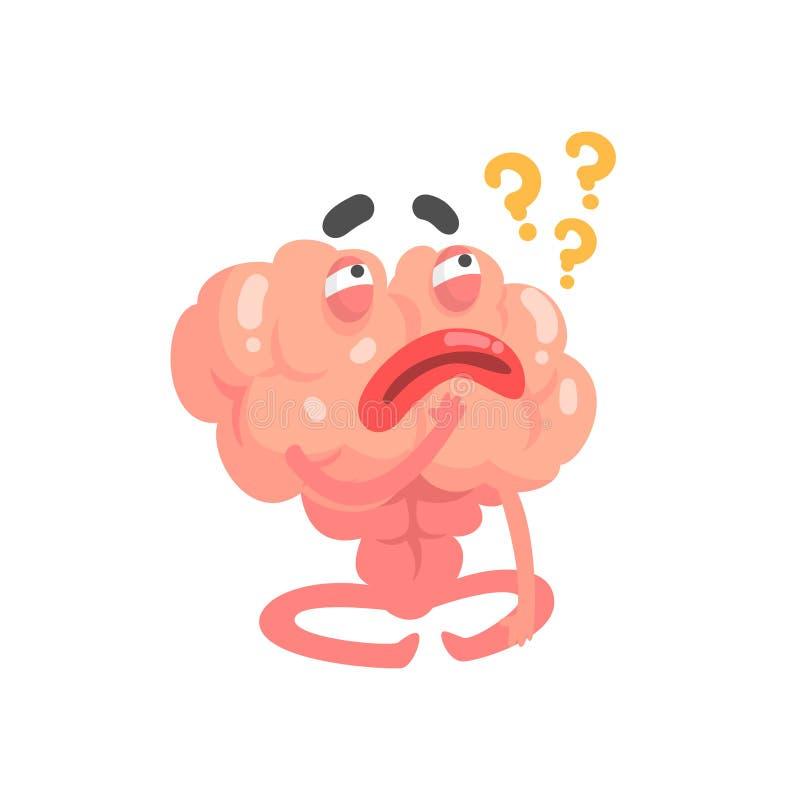 Humanized tänkande tecken för tecknad filmhjärna, illustration för vektor för mänskligt organ för intellekt vektor illustrationer