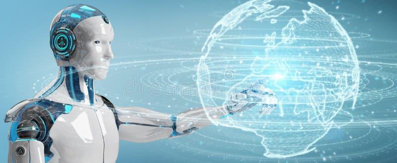 Humanoïde blanc utilisant l'hologramme de réseau de globe avec la carte 3D r de l'Europe illustration de vecteur