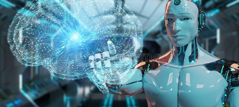 Humanoïde d'homme blanc créant le rendu de l'intelligence artificielle 3D illustration stock