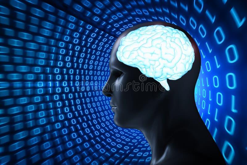 Humano con el cerebro brillante libre illustration