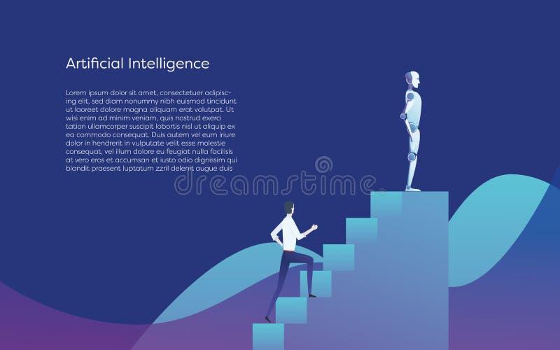 Humano contra concepto del vector de la inteligencia artificial Superior del bot del AI al hombre de negocios, colocándose encima ilustración del vector