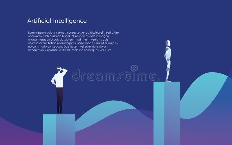 Humano contra concepto del vector de la inteligencia artificial Superior del bot del AI al hombre de negocios Símbolo del avance  stock de ilustración