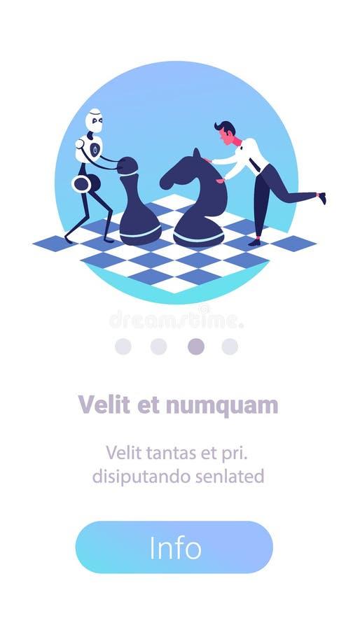 Humano contra el hombre de negocios de la inteligencia artificial que juega a ajedrez con el espacio vertical de la copia del rob ilustración del vector