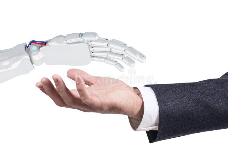 Humano estire hacia fuera la mano a la mano robótica para el apretón de manos representación 3d foto de archivo