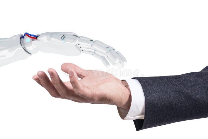 Humano estire hacia fuera la mano a la mano robótica para el apretón de manos representación 3d fotografía de archivo libre de regalías