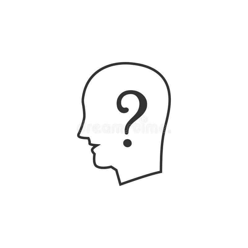 Humano, linha ícone da pergunta Ilustração lisa simples, moderna do vetor para o app móvel, Web site ou desktop app ilustração royalty free