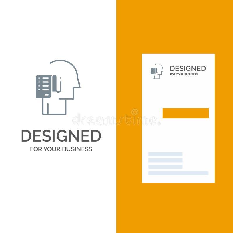 Humano, lista, persona, horario, tareas Grey Logo Design y plantilla de la tarjeta de visita libre illustration