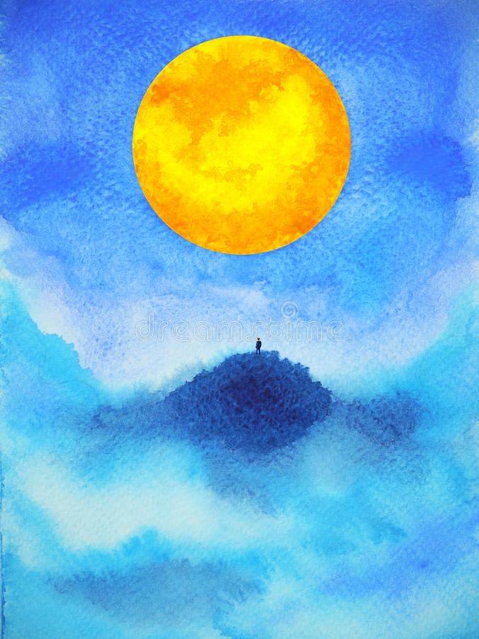 Humano no projeto espiritual da ilustração da pintura da aquarela da Lua cheia do poder da mente do sumário superior da montanha imagem de stock royalty free