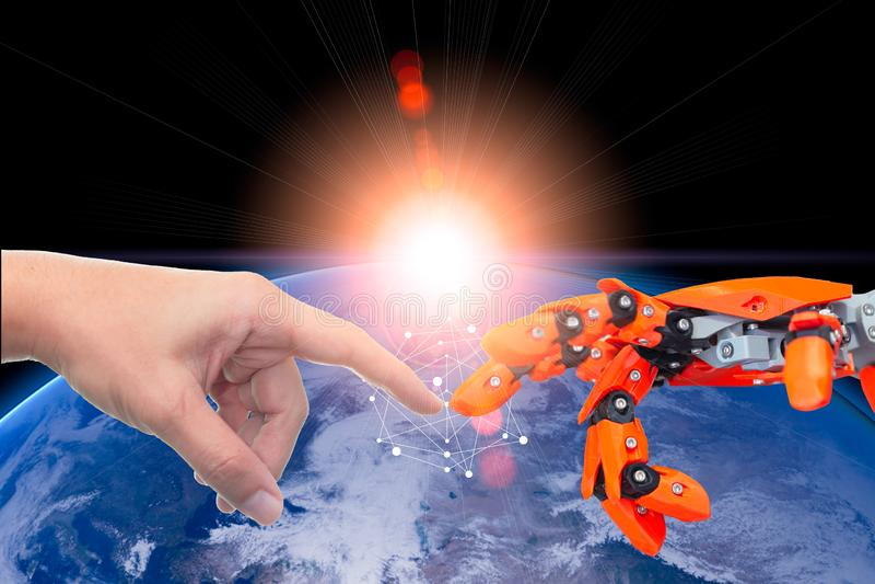 Humano y robótico automatice la era de la tecnología conectada para el concepto futuro del mundo imágenes de archivo libres de regalías