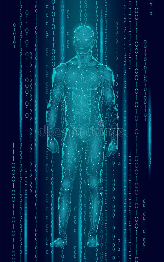 Humanoid android man standing cyberspace binary code. Robot artificial intelligence low poly polygonal human body vector illustration