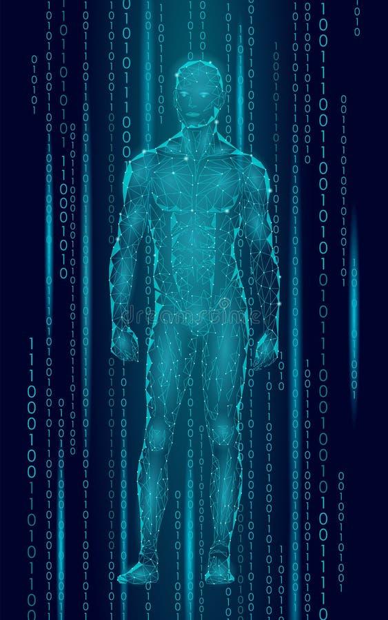 Humanoid androidu mężczyzna trwanie cyberprzestrzeni binarny kod Robot sztucznej inteligenci niski poli- poligonalny ciało ludzki ilustracja wektor