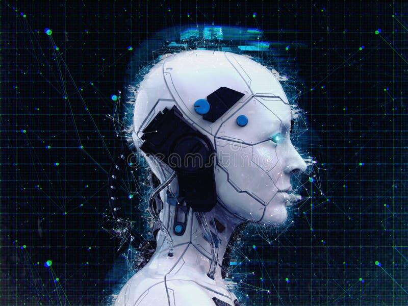 Humanoid bakgrund för konstgjord intelligens för robotflicka - 3d renderlpaper-3D att framföra stock illustrationer