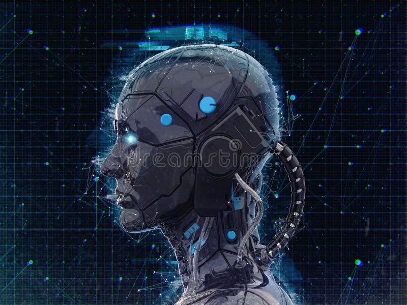 Humanoid bakgrund för konstgjord intelligens för robotflicka - 3d renderlpaper-3D att framföra vektor illustrationer