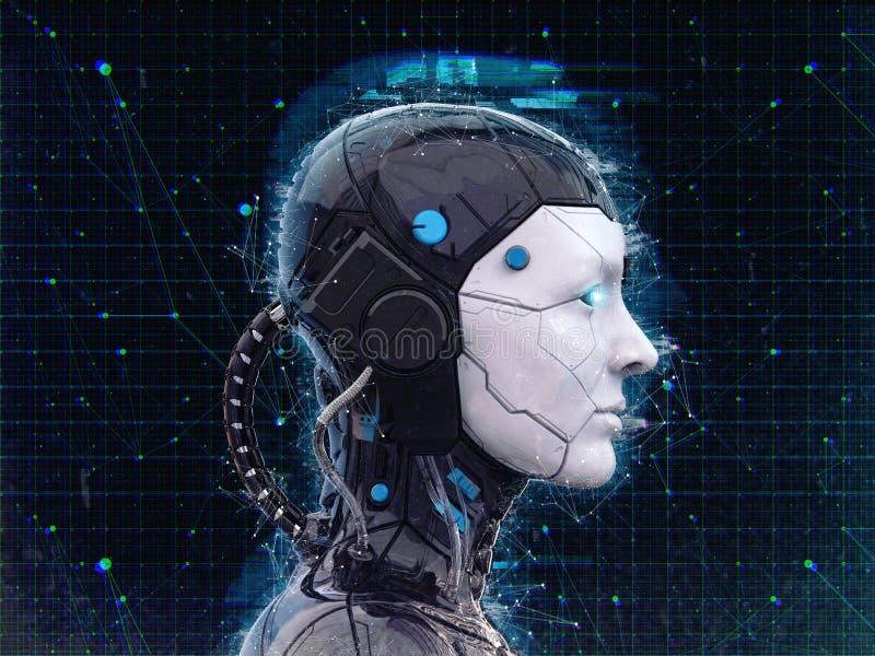 Humanoid bakgrund för konstgjord intelligens för robotflicka - 3d renderlpaper-3D att framföra royaltyfri illustrationer