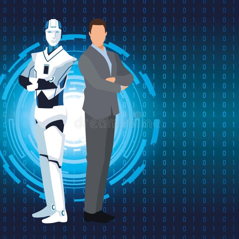 Humanoid biznesmen i robot ilustracji