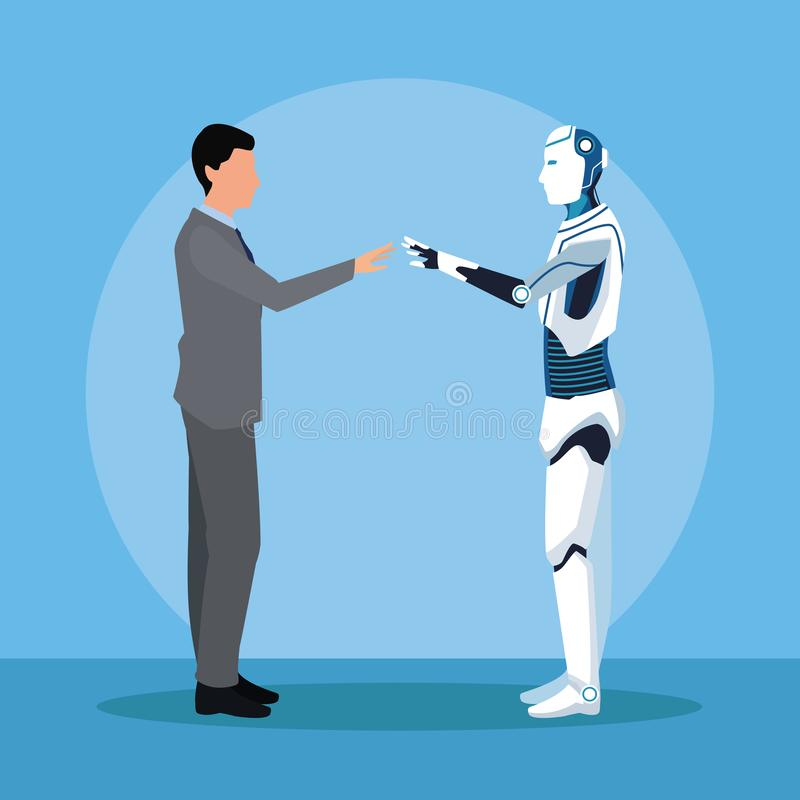 Humanoid biznesmen i robot royalty ilustracja