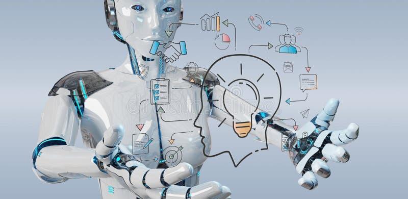 Humanoid branco que cria a relação da inteligência artificial