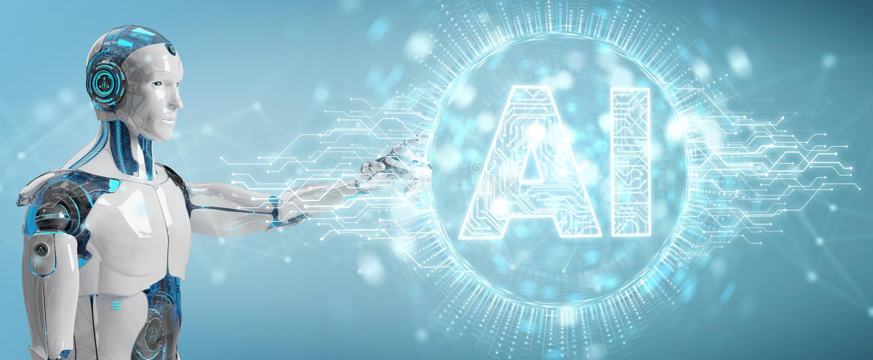 Humanoid branco usando o hologr digital do ícone da inteligência artificial