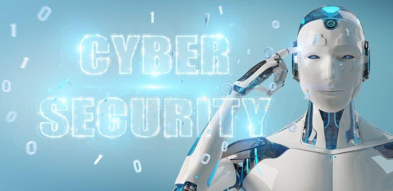 Humanoid branco usando a rendição do holograma 3D do texto da segurança do cyber ilustração do vetor