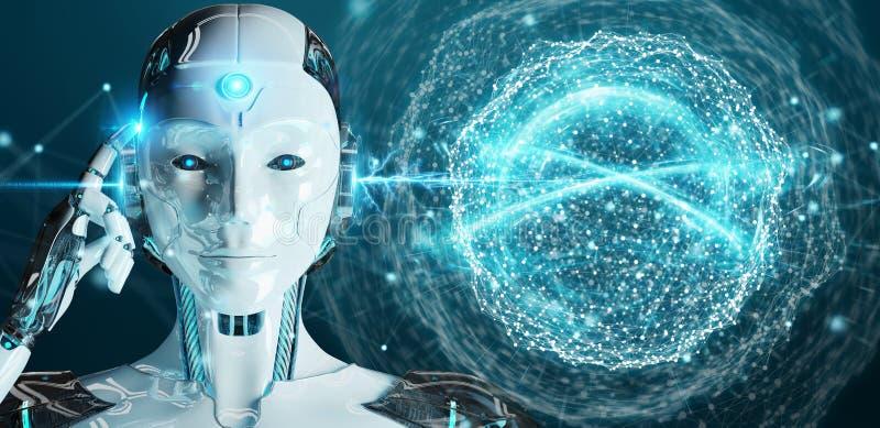 Humanoid da mulher branca usando a rendição digital da rede global 3D ilustração royalty free