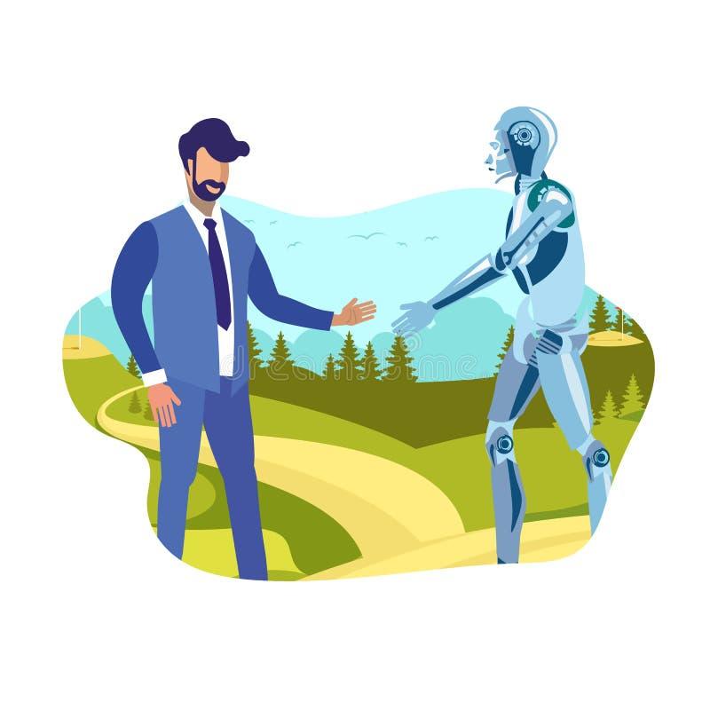 Humanoid, de Vlakke Vectorillustratie van de Mensenhanddruk stock illustratie