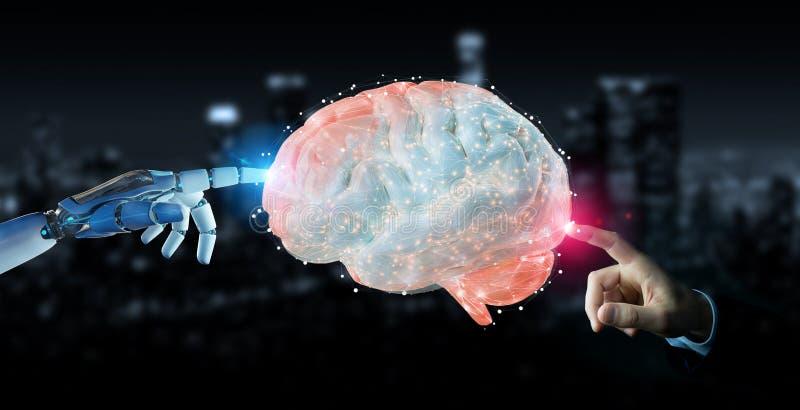 Humanoid del hombre blanco que crea la representación de la inteligencia artificial 3D