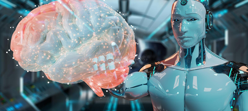 Humanoid del hombre blanco que crea la representación de la inteligencia artificial 3D ilustración del vector