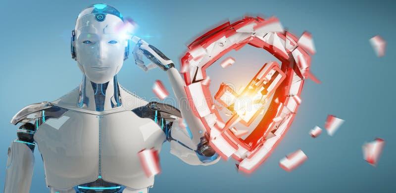 Humanoid del hombre blanco usando la representación de la seguridad 3D del web stock de ilustración