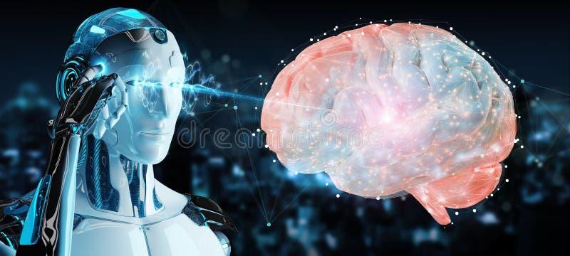 Humanoid do homem branco que cria a rendição da inteligência artificial 3D