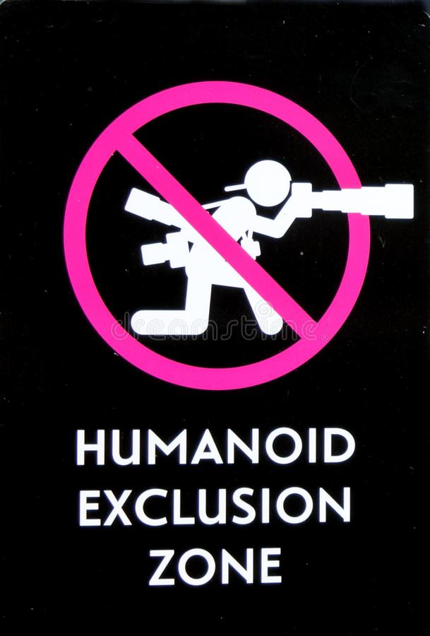 Humanoid Exclusion Zone Sign No Photography stock photos