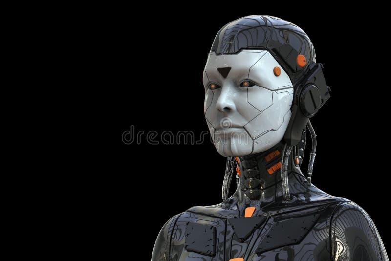 Humanoid för kvinna för robotAndroid cyborg - som isoleras i svart bakgrund stock illustrationer