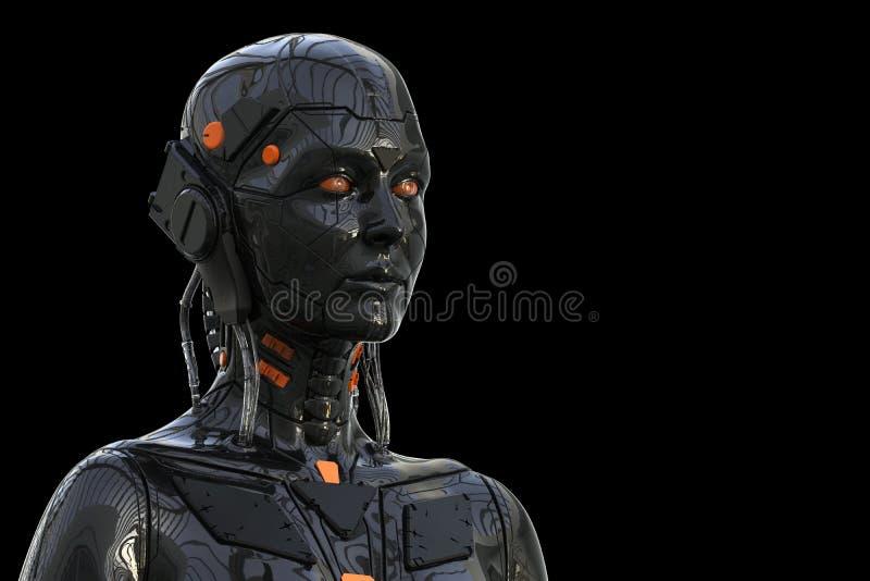 Humanoid för robotAndroid kvinna - som isoleras i svart bakgrund royaltyfri illustrationer