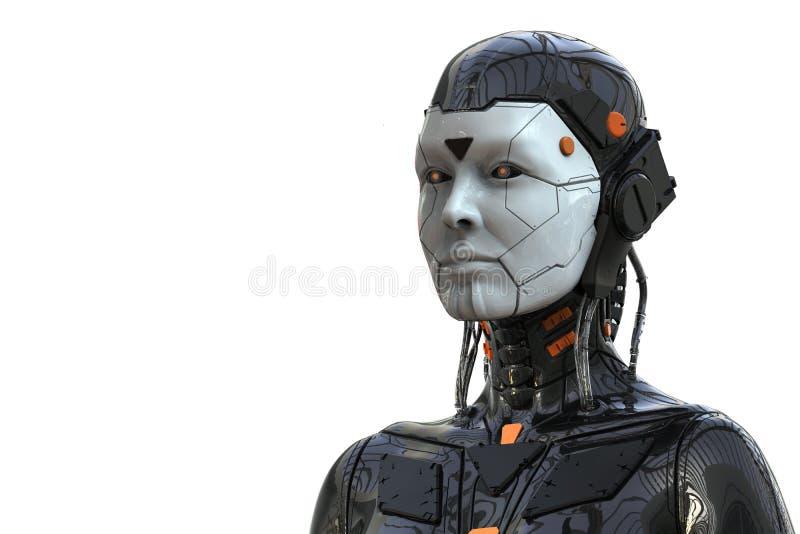 Humanoid f?r robotAndroid kvinna - som isoleras i vit bakgrund royaltyfri illustrationer